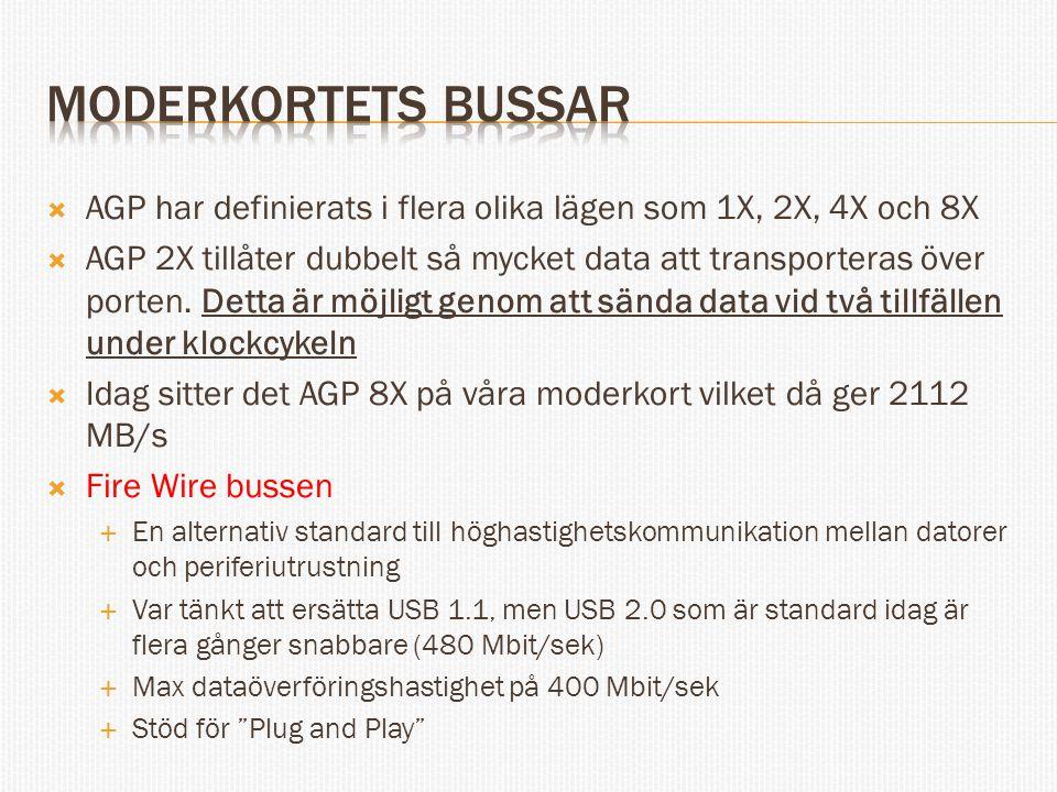 Moderkortets bussar AGP har definierats i flera olika lägen som 1X, 2X, 4X och 8X.