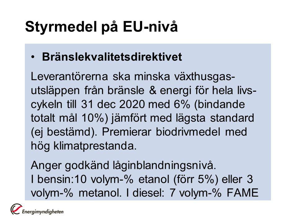 Styrmedel på EU-nivå Bränslekvalitetsdirektivet