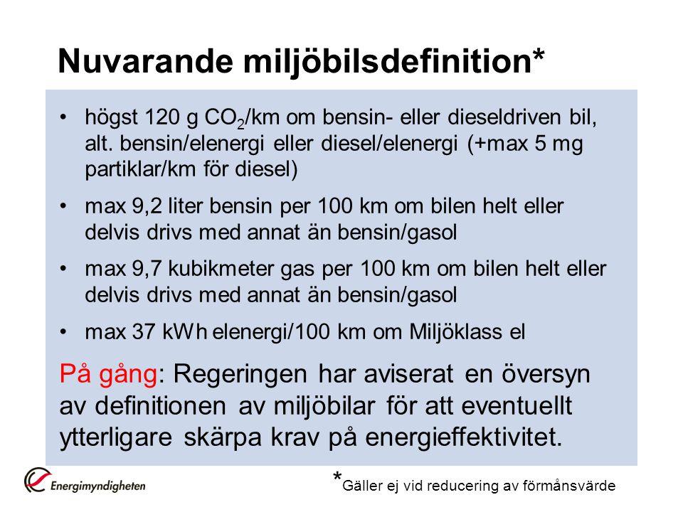 Nuvarande miljöbilsdefinition*