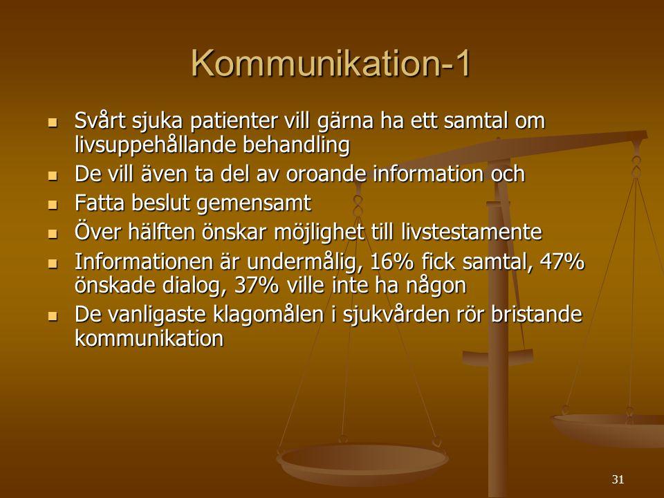 Kommunikation-1 Svårt sjuka patienter vill gärna ha ett samtal om livsuppehållande behandling. De vill även ta del av oroande information och.