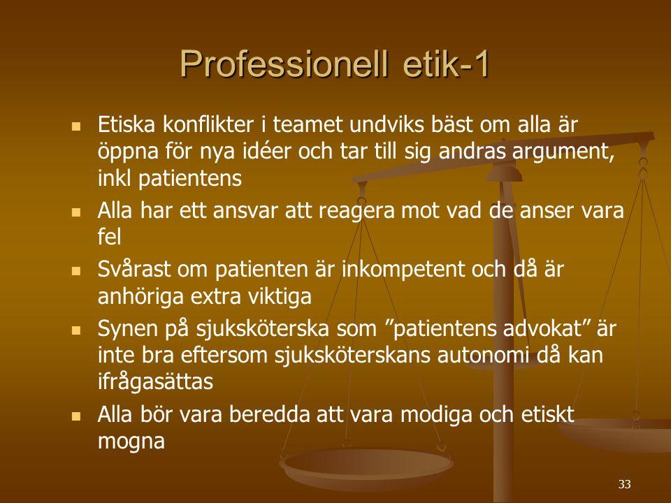 Professionell etik-1 Etiska konflikter i teamet undviks bäst om alla är öppna för nya idéer och tar till sig andras argument, inkl patientens.