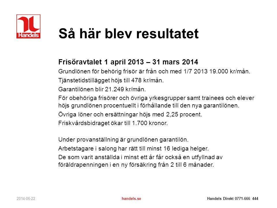 Så här blev resultatet Frisöravtalet 1 april 2013 – 31 mars 2014