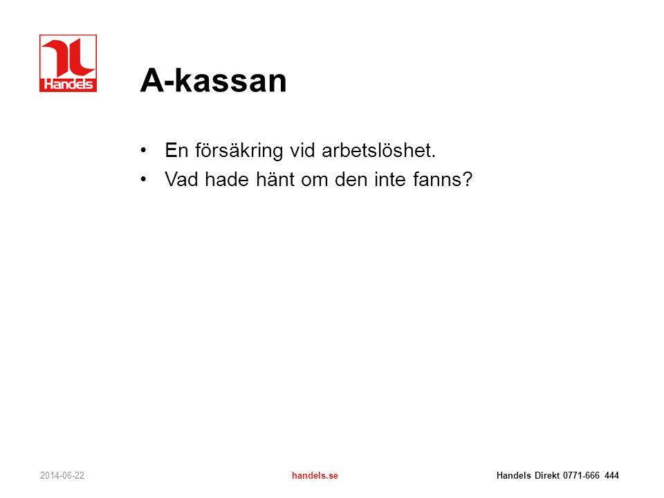 A-kassan En försäkring vid arbetslöshet.