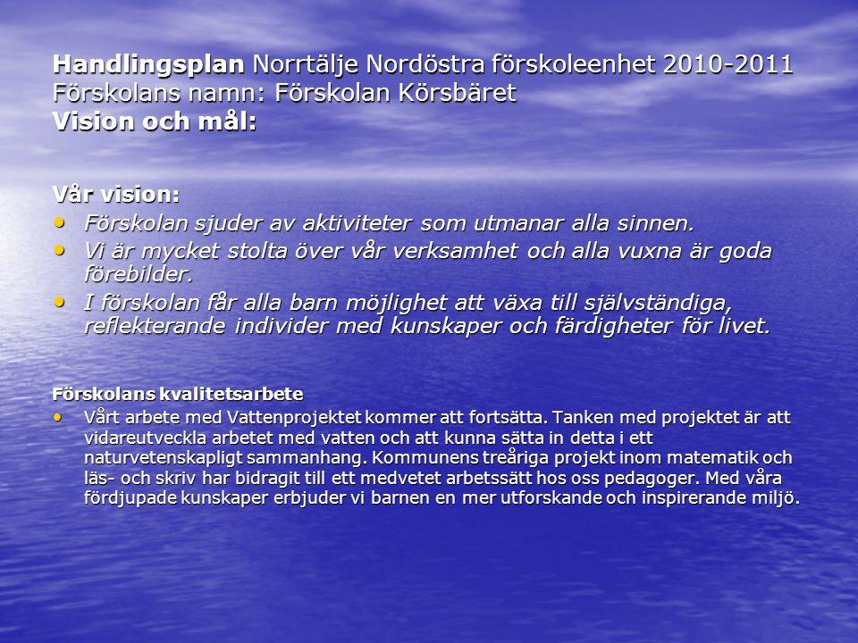 Handlingsplan Norrtälje Nordöstra förskoleenhet 2010-2011 Förskolans namn: Förskolan Körsbäret Vision och mål: