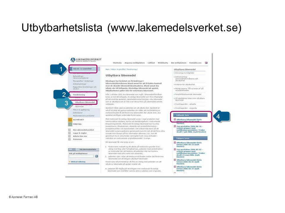 Utbytbarhetslista (www.lakemedelsverket.se)