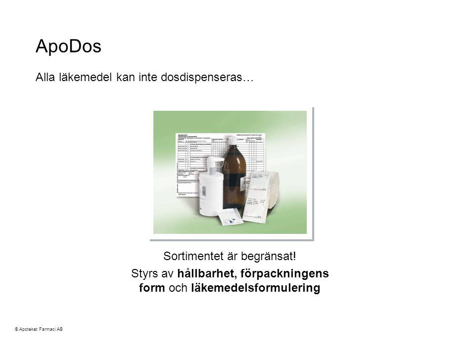 ApoDos Alla läkemedel kan inte dosdispenseras…