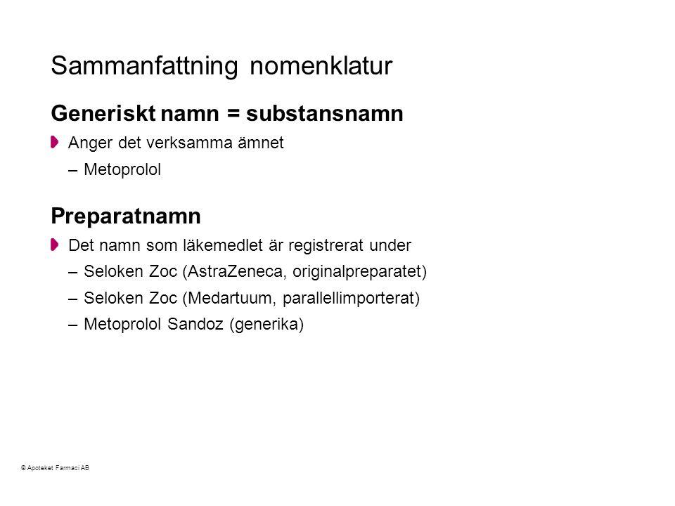 Sammanfattning nomenklatur
