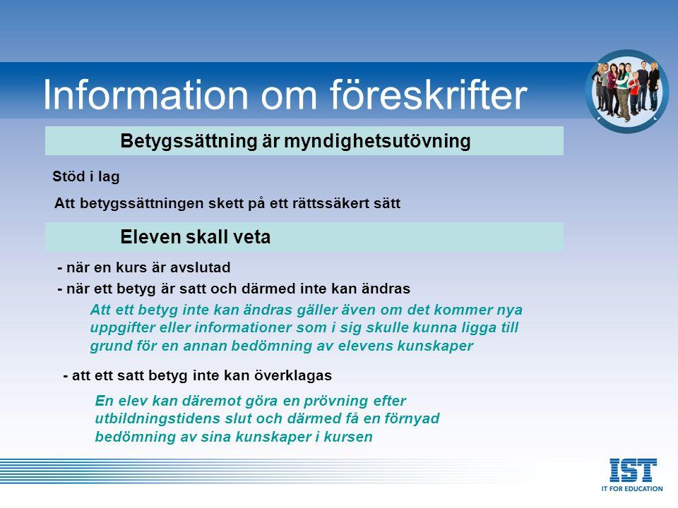 Information om föreskrifter