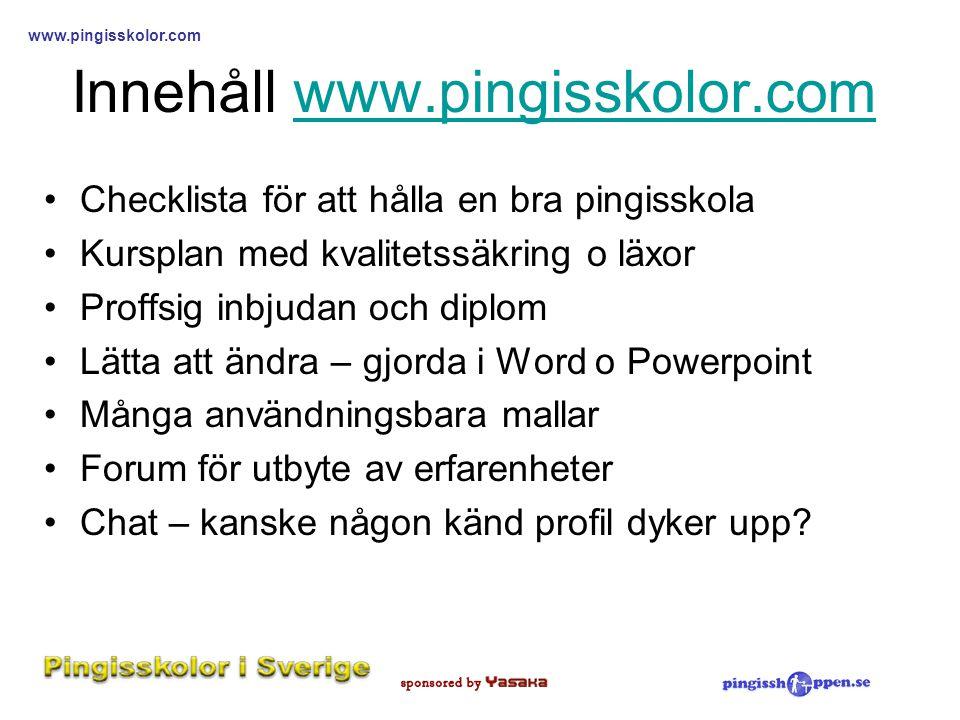 Innehåll www.pingisskolor.com