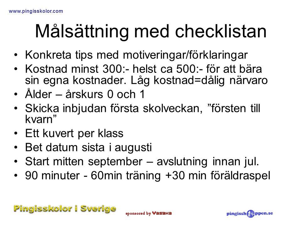 Målsättning med checklistan
