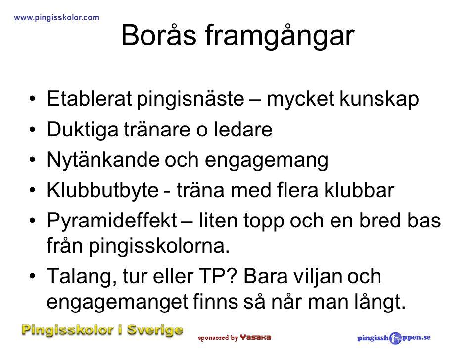 Borås framgångar Etablerat pingisnäste – mycket kunskap