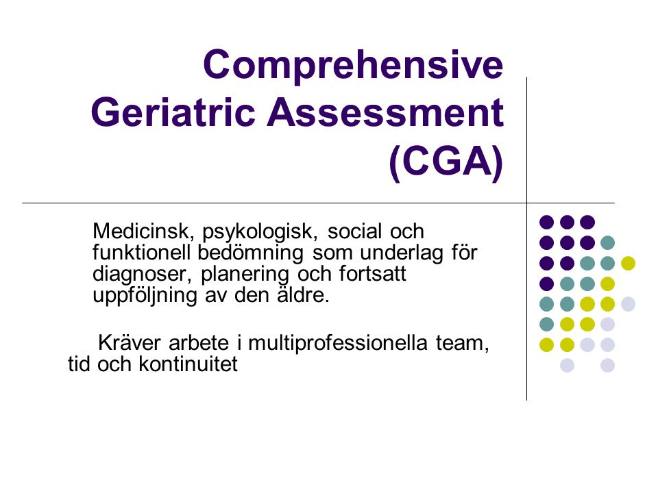 Comprehensive Geriatric Assessment (CGA)