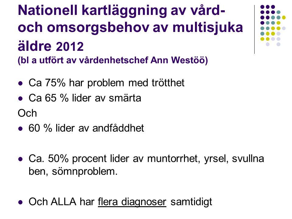 Nationell kartläggning av vård- och omsorgsbehov av multisjuka äldre 2012 (bl a utfört av vårdenhetschef Ann Westöö)