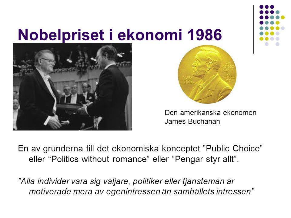 Nobelpriset i ekonomi 1986 Den amerikanska ekonomen. James Buchanan.