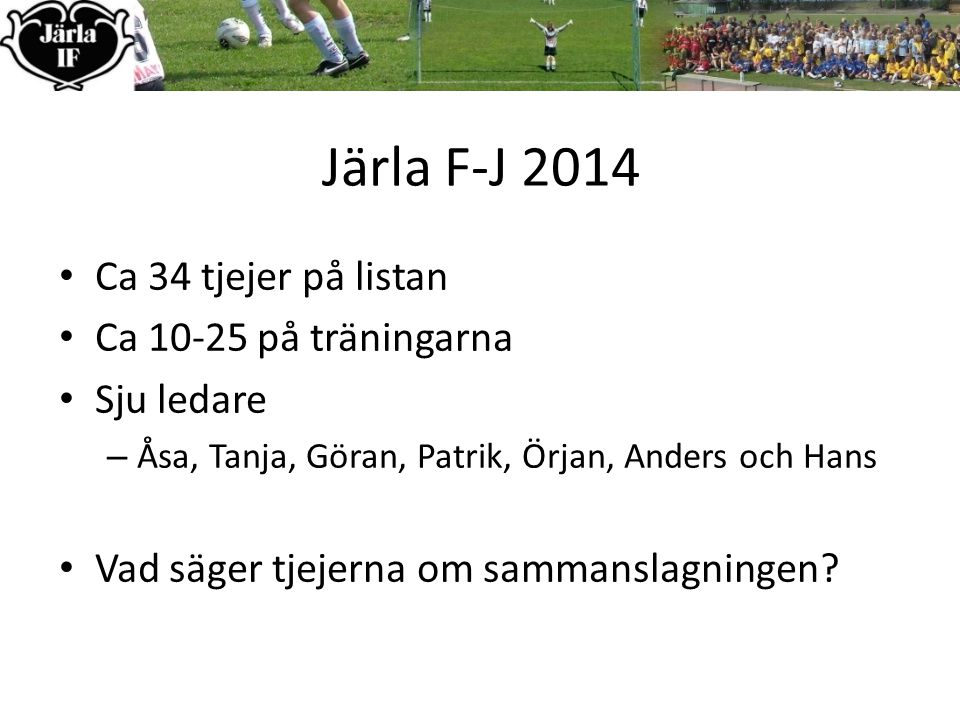 Järla F-J 2014 Ca 34 tjejer på listan Ca 10-25 på träningarna