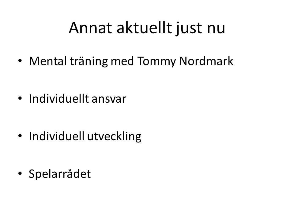 Annat aktuellt just nu Mental träning med Tommy Nordmark