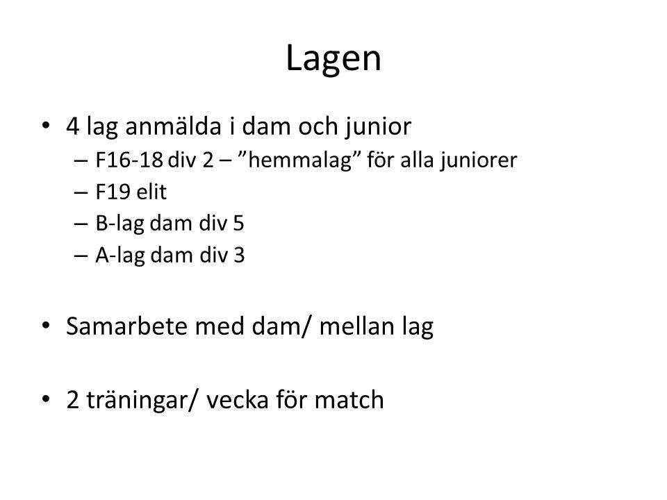Lagen 4 lag anmälda i dam och junior Samarbete med dam/ mellan lag