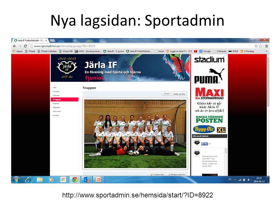Nya lagsidan: Sportadmin