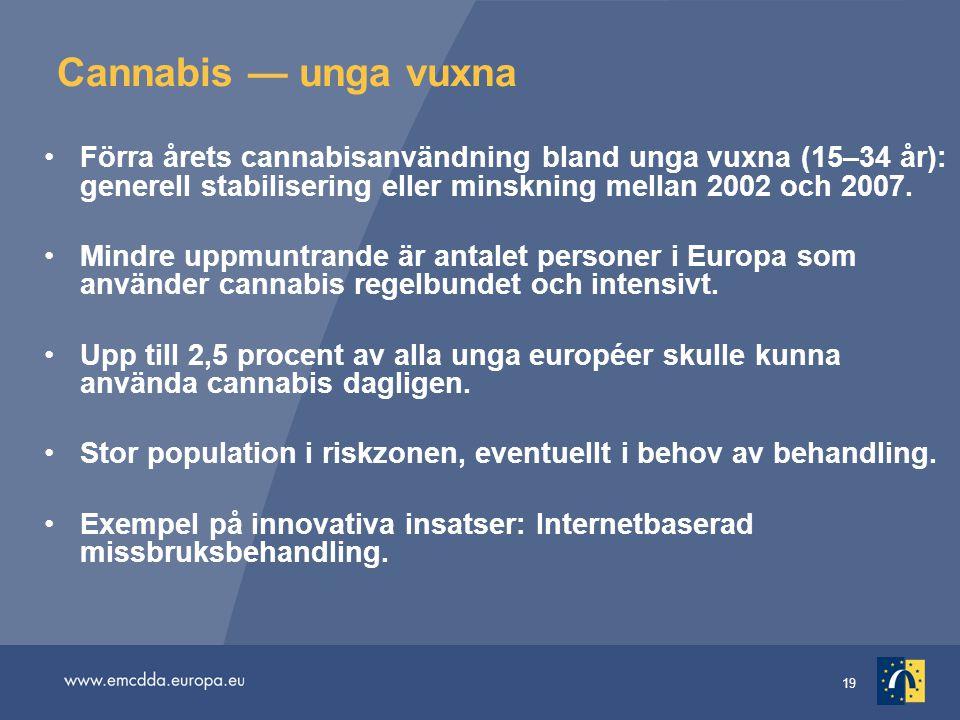 Cannabis — unga vuxna Förra årets cannabisanvändning bland unga vuxna (15–34 år): generell stabilisering eller minskning mellan 2002 och 2007.