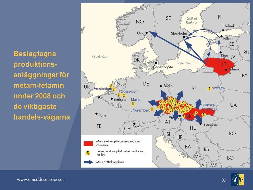 Beslagtagna produktions-anläggningar för metam-fetamin under 2008 och de viktigaste handels-vägarna