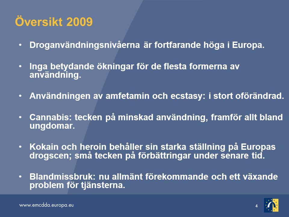 Översikt 2009 Droganvändningsnivåerna är fortfarande höga i Europa.