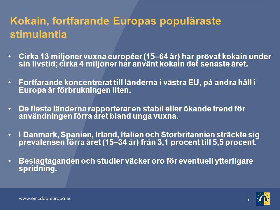 Kokain, fortfarande Europas populäraste stimulantia