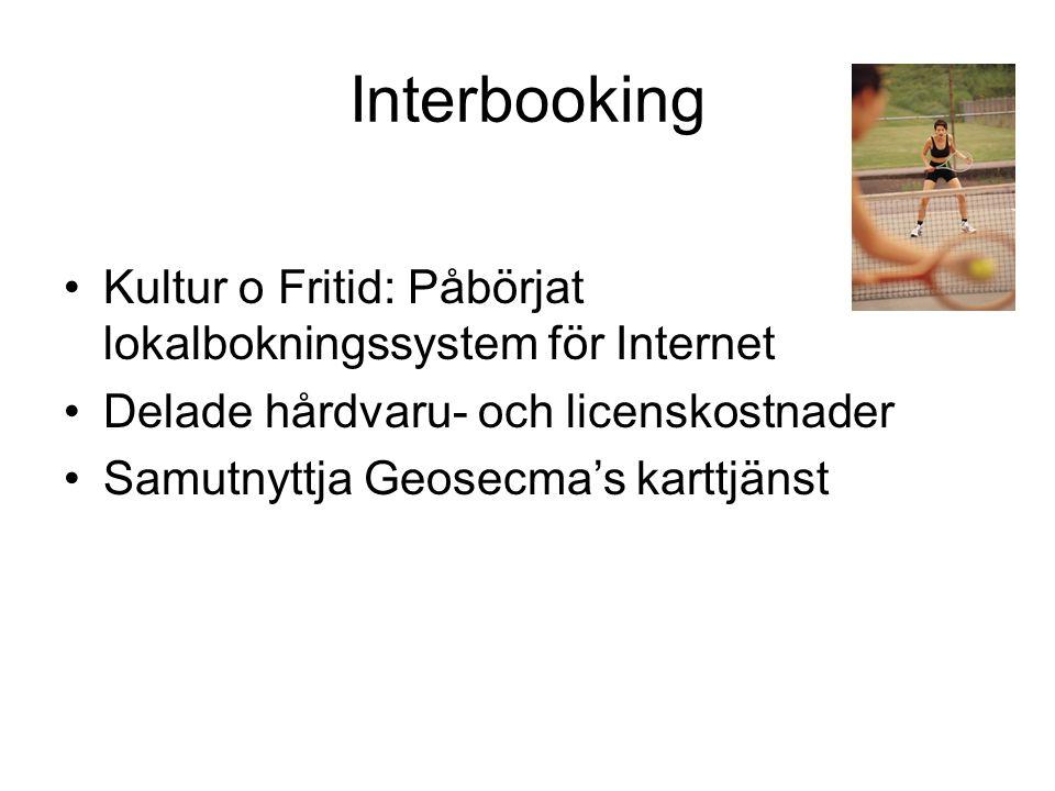 Interbooking Kultur o Fritid: Påbörjat lokalbokningssystem för Internet. Delade hårdvaru- och licenskostnader.