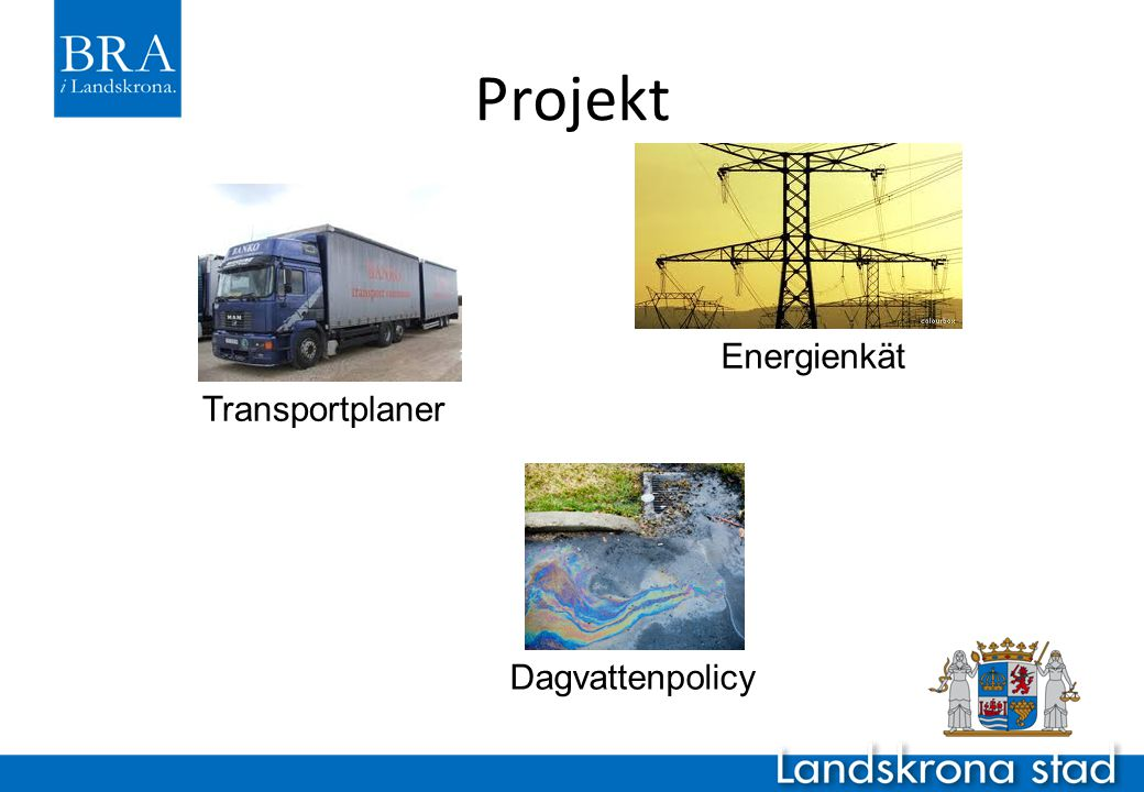 Projekt Energienkät Transportplaner Dagvattenpolicy
