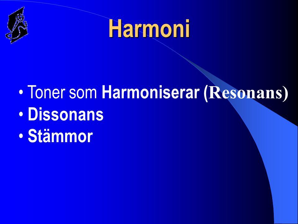 Harmoni Toner som Harmoniserar (Resonans) Dissonans Stämmor