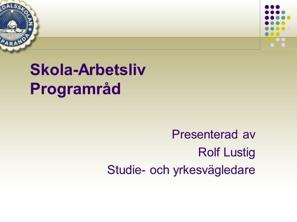 Skola-Arbetsliv Programråd
