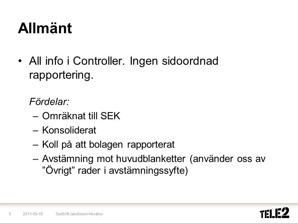 Allmänt All info i Controller. Ingen sidoordnad rapportering. Fördelar: Omräknat till SEK. Konsoliderat.