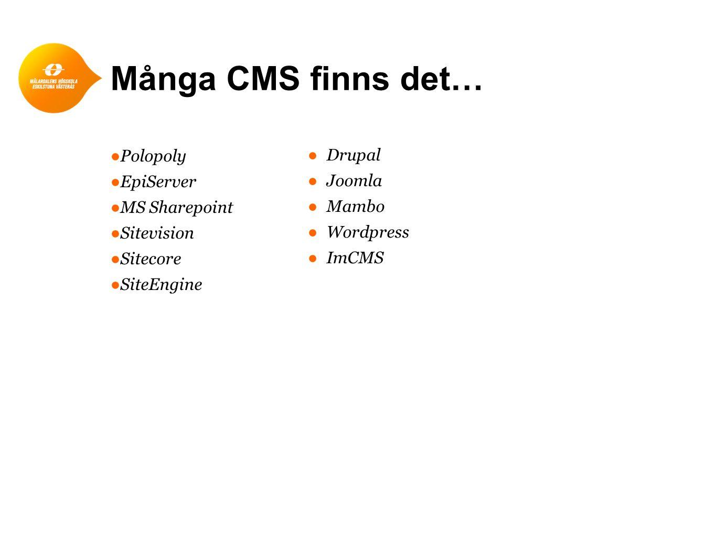 Många CMS finns det… Polopoly Drupal EpiServer Joomla MS Sharepoint