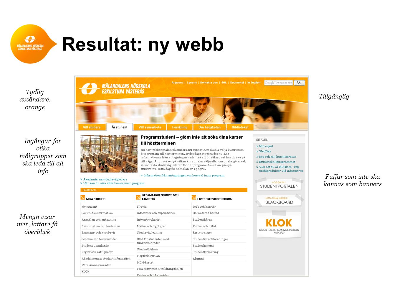 Resultat: ny webb Tydlig avsändare, Tillgänglig orange