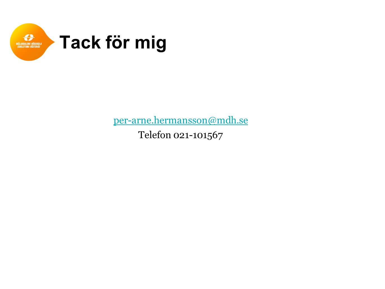 per-arne.hermansson@mdh.se Telefon 021-101567