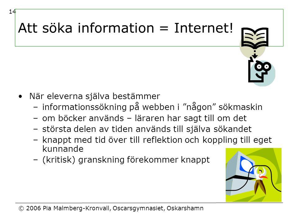 Att söka information = Internet!
