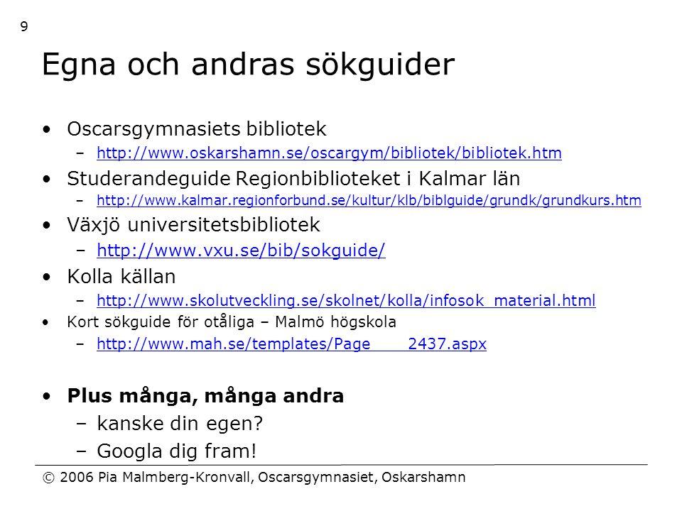 Egna och andras sökguider