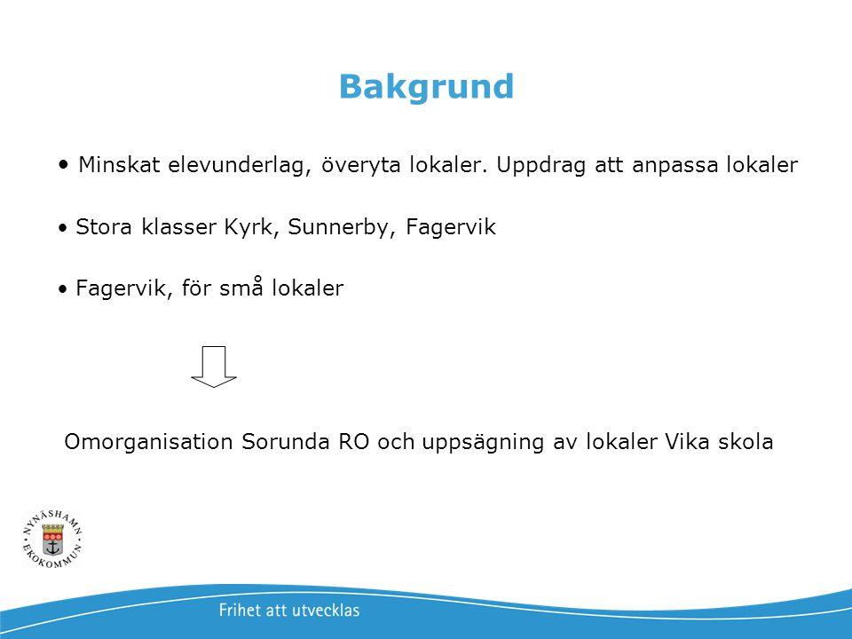 Bakgrund Minskat elevunderlag, överyta lokaler. Uppdrag att anpassa lokaler. Stora klasser Kyrk, Sunnerby, Fagervik.
