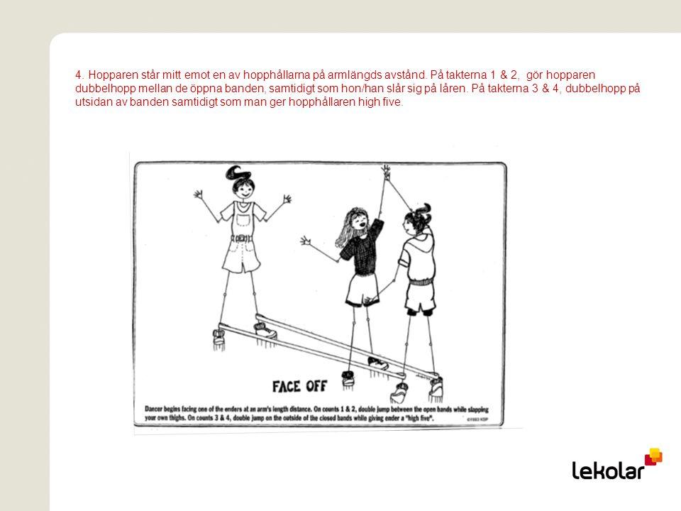 4. Hopparen står mitt emot en av hopphållarna på armlängds avstånd