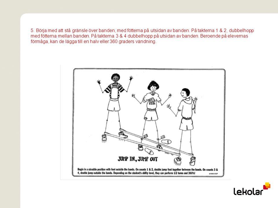 5. Börja med att stå gränsle över banden, med fötterna på utsidan av banden.