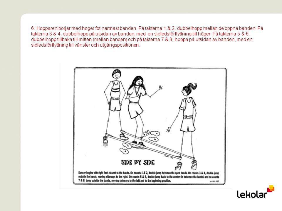 6. Hopparen börjar med höger fot närmast banden