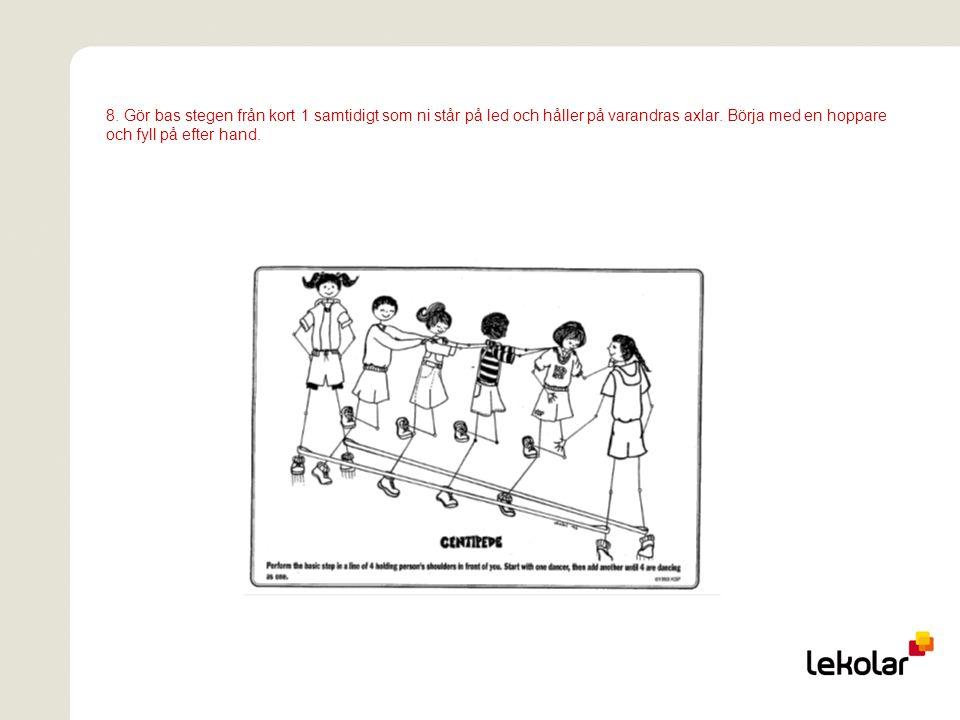 8. Gör bas stegen från kort 1 samtidigt som ni står på led och håller på varandras axlar.