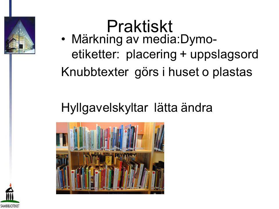 Praktiskt Märkning av media:Dymo-etiketter: placering + uppslagsord