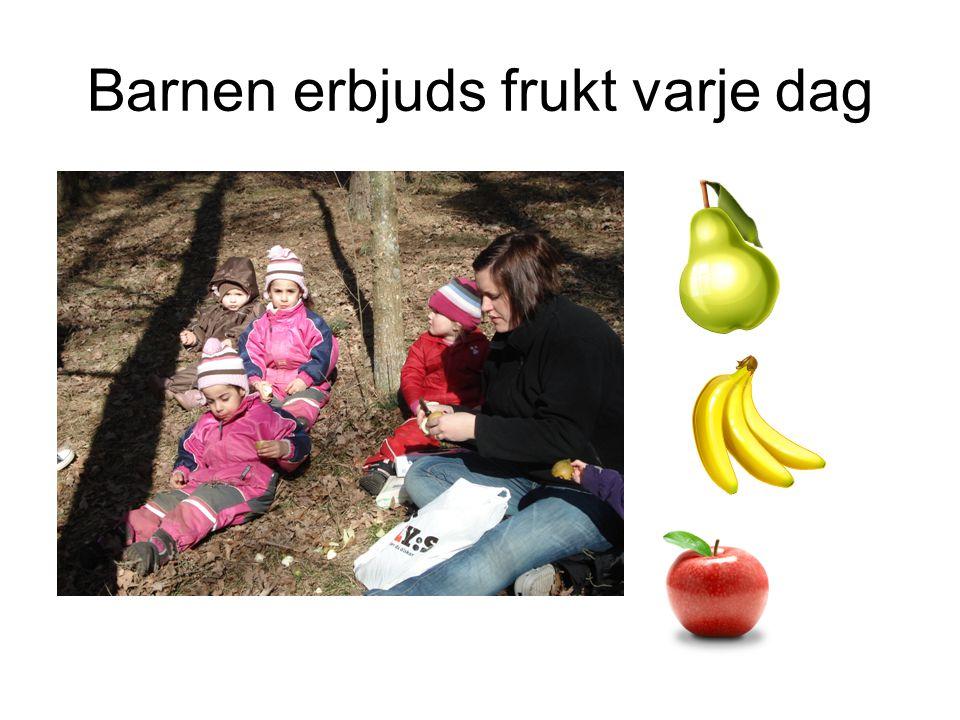 Barnen erbjuds frukt varje dag