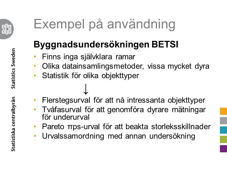 Exempel på användning ↓ Byggnadsundersökningen BETSI