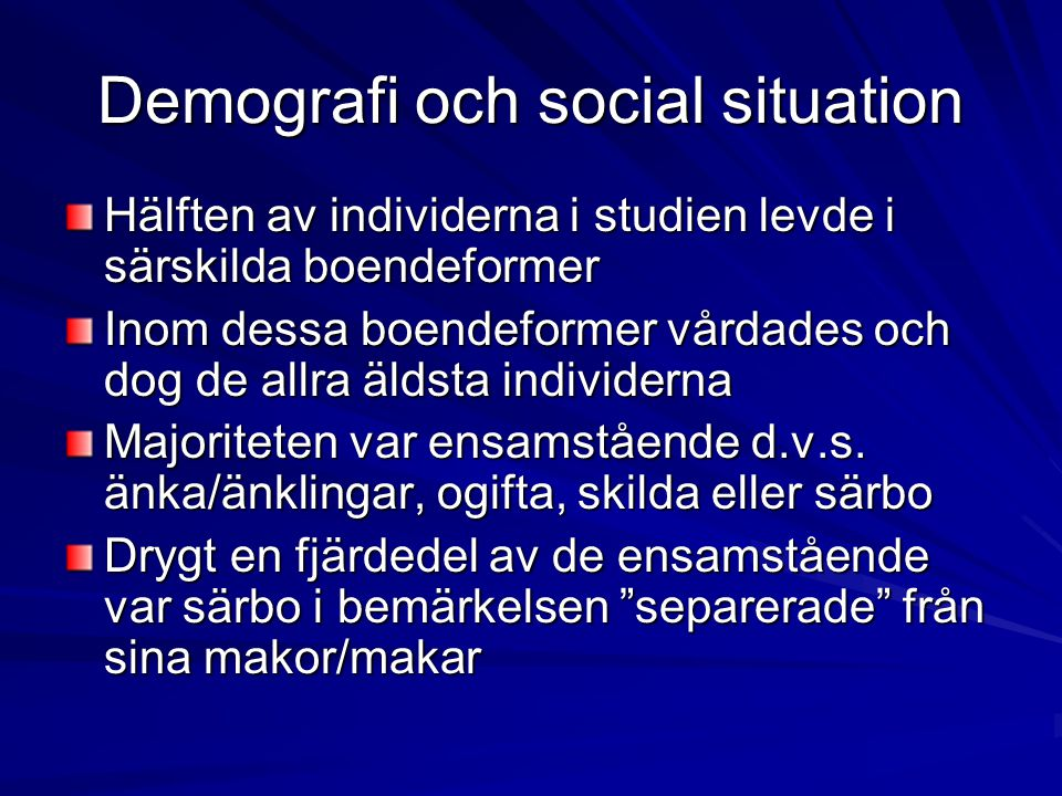 Demografi och social situation