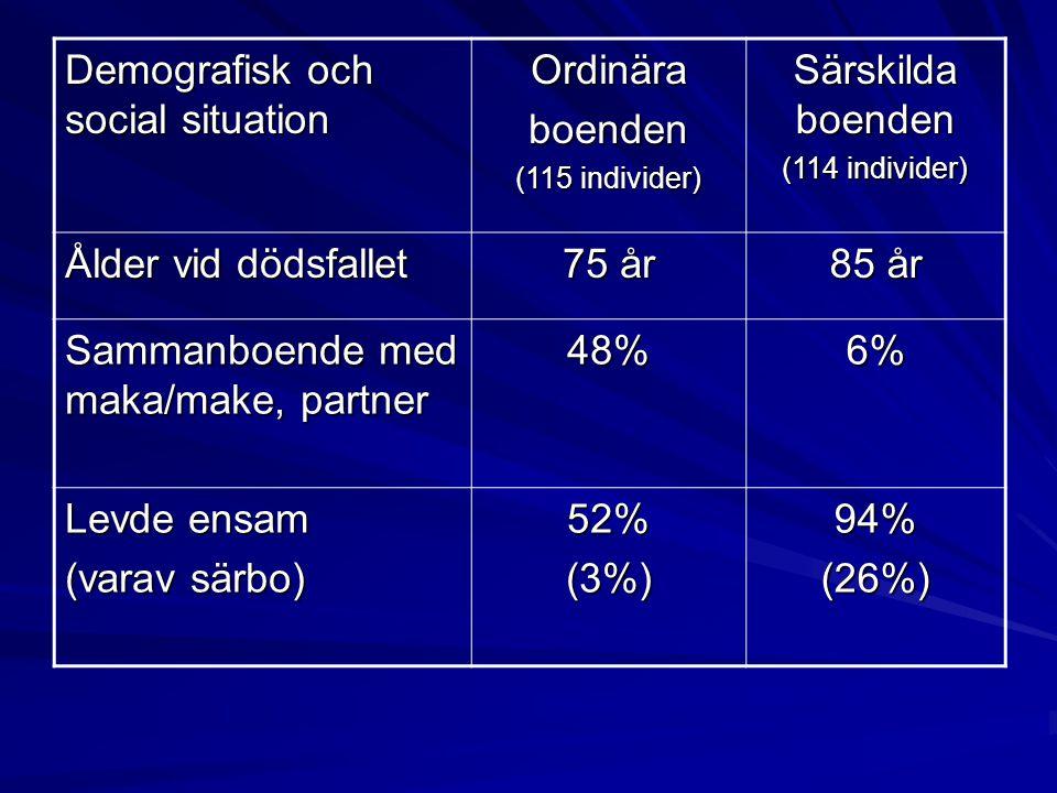 Demografisk och social situation Ordinära boenden Särskilda boenden