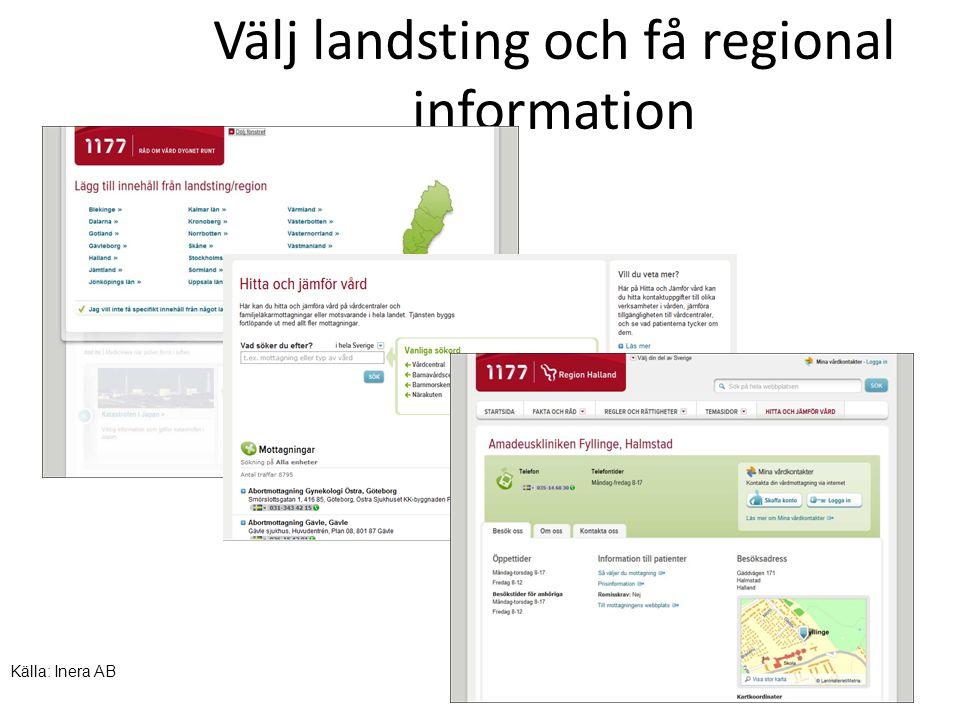 Välj landsting och få regional information