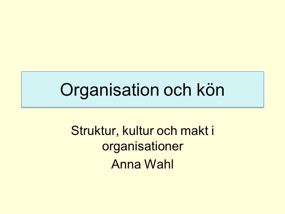 Struktur, kultur och makt i organisationer Anna Wahl