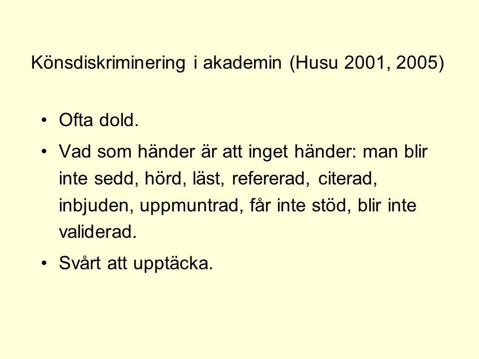Könsdiskriminering i akademin (Husu 2001, 2005)