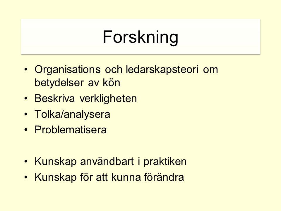 Forskning Organisations och ledarskapsteori om betydelser av kön